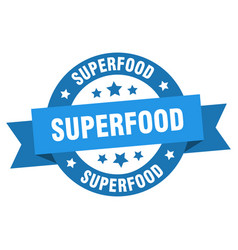 superfood ribbon superfood round blue sign vector image
