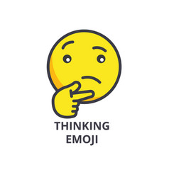 Thinking emoji line icon sign vector