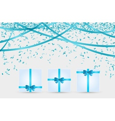 Three presents and confetti vector