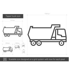 Tipper truck line icon vector