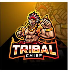 Tribal chief esport mascot logo vector