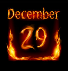 Twenty-ninth december in calendar of fire icon on vector