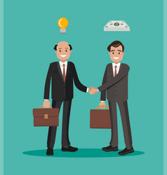 Two businessmen shaking hands on a bargain flat vector