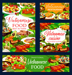 Vietnamese soups and rice with fish meat veggies vector