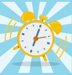 Wake up alarm clock flat design vector