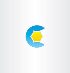 water and star blue letter c logo vector image