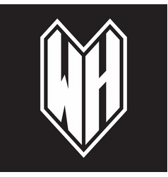 wh logo monogram with emblem line style isolated vector image