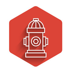 White line fire hydrant icon isolated with long vector