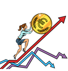 woman businesswoman roll a euro coin up vector image