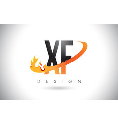 xf x f letter logo with fire flames design and vector image