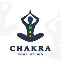 Yoga studio logo template chakra company logotype vector