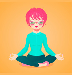 Young businesswoman meditating i vector