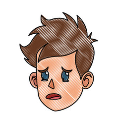 Drawing character face head boy kid cry vector