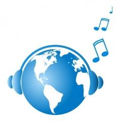 earth witj headphones vector image