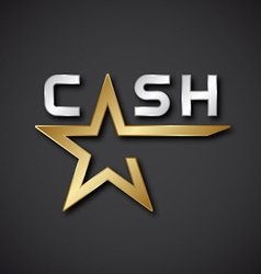 EPS10 cash golden star inscription icon vector image vector image