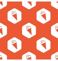 Orange hexagon ice cream pattern vector image