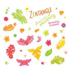 set hand drawing zentangle elements vector image