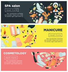 spa salon with manicure and cosmetology procedures vector image vector image