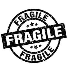 Fragile round grunge black stamp vector