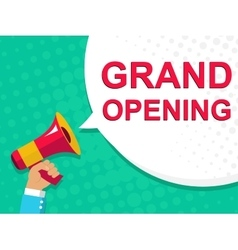 Megaphone with GRAND OPENING announcement Flat vector image