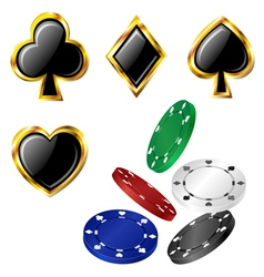 Poker card icon and chip set vector image