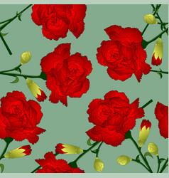 Red carnation flower on green background vector