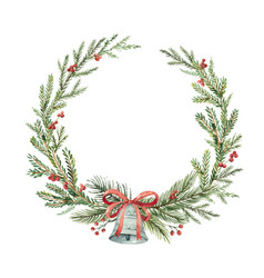 watercolor christmas wreath with bell and vector image