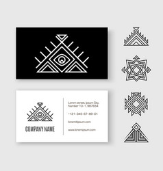 black white pattern business card ethnic element vector image vector image
