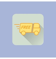 Delivery Truck Icon With free sign on blue vector image