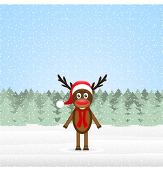 reindeer in the winter forest Christmas vector image vector image