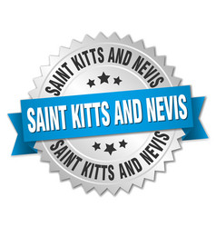 saint kitts and nevis round silver badge with vector image vector image