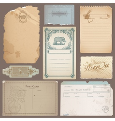 Set of Different Vintage Papers Cards vector image vector image