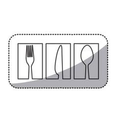 silhouette symbol cutlery food icon vector image vector image