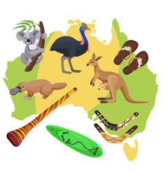 australia symbols on map koala kangaroo vector image