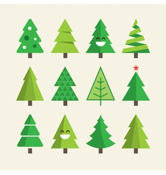 christmas tree set vector image vector image