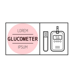 Glucose meter diabetes flat icon and object of vector