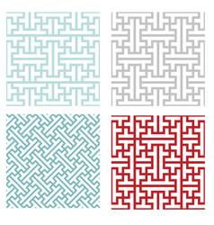 Seamless vintage geometric puzzle pattern vector