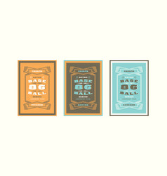 set of baseball card design in vintage style vector image