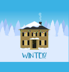 winter landscape house with christmas decorations vector image