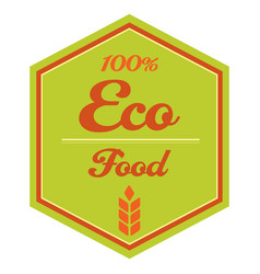 100 eco food label with ears vector image