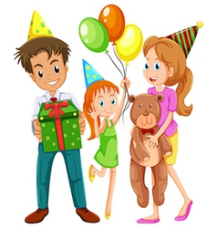 A happy family celebrating birthday vector