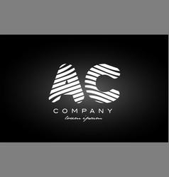 Ac a c letter alphabet logo black white icon vector
