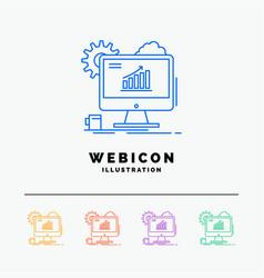 analytics chart seo web setting 5 color line web vector image