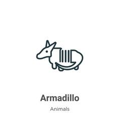 Armadillo outline icon thin line black vector