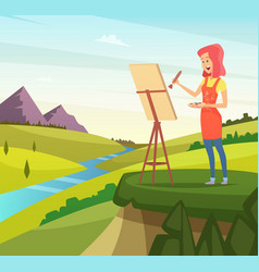 Artist in nature making picture vector