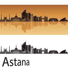 Astana skyline in orange background vector