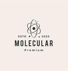 atom orbit molecular hipster vintage logo icon vector image
