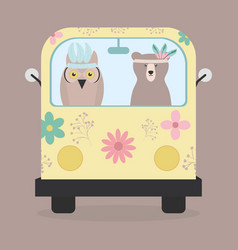bear grizzly and owl with feathers hat in hippie vector image