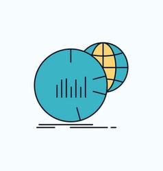 big chart data world infographic flat icon green vector image