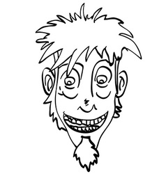 Black and white crazy face vector